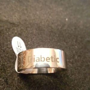 Titanium Diabetic Med Alert Ring Sz 11